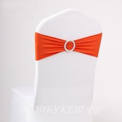Бант на стул #0001 Бант с брошью, оранжевый