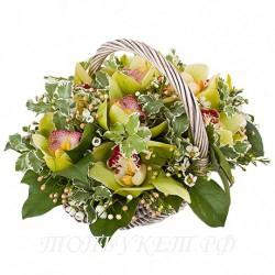 Цветы в корзине - доставка в СПБ #0015